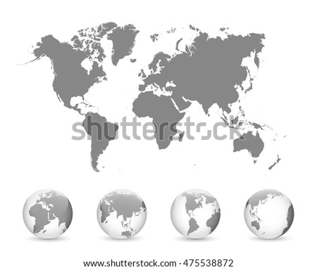 Map of the World and globes. Vector illustration.