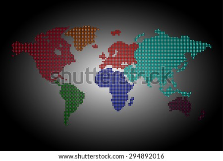 map of the world colorful black pixel background. vector illustration. dot. table. square. Mosaic. ingographics. background for computer graphic website internet and technology. - stock vector