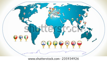 Map of the world. Flags of countries with pointers. vector - stock vector