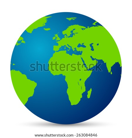 Map of the world globe with shadow on white background - stock vector