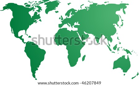 Map of the world illustration, simple outline gradient colors - stock vector