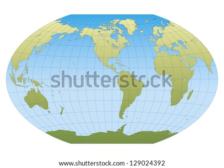 Map of the world in Winkel Tripel projection with graticule. Centered in the American continent - stock vector