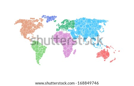 Map of the World made of colorful dots vector illustration