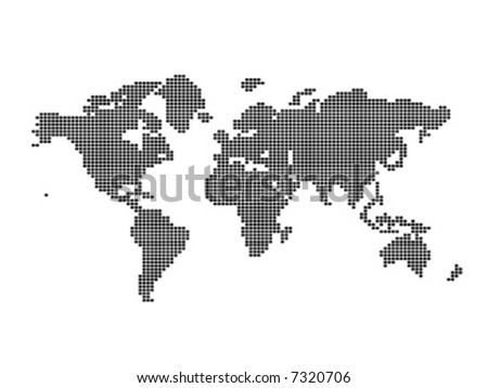 Map of the World made with rounded squares pattern - stock vector