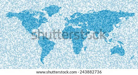 Map of the world, mosaic style, abstract political or business background - stock vector