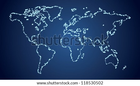 Map of the world - the dots - stock vector
