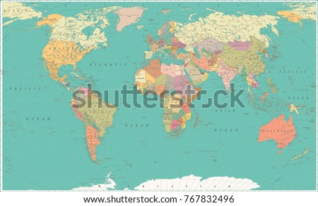 Map of the World. Vintage Style. Large Detailed World Map vector illustration.