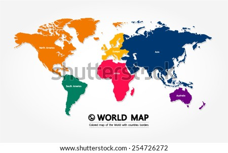 map of the World with countries borders - stock vector