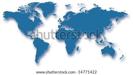 map of the world with drop shadow and transparency - vector illustration - stock vector