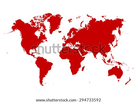 Map of The World with Red Continents and White Background - Vector Illustration - stock vector