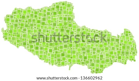 Map of Tibet - Asia - in a mosaic of green squares