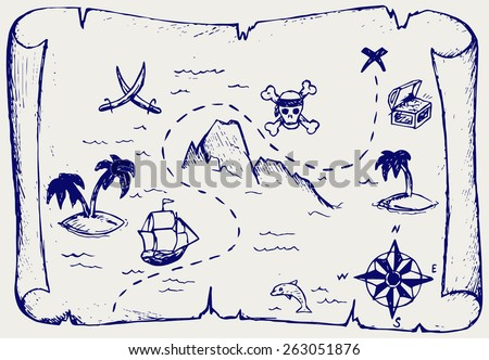 Map of treasure island. Doodle style - stock vector