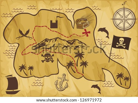 map of treasure island (treasure map, antique map, old map, old pirate map, illustration of the old maps to find treasure, faded old map, treasure map showing island with coast and compass star) - stock vector