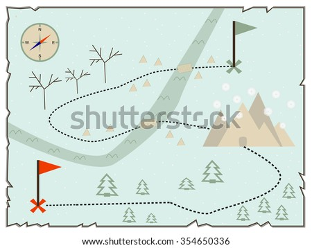 Map of treasure island (treasure map, old map, baby map, illustration of the winter maps to find treasure, treasure map showing winter island with present and compass star) - stock vector