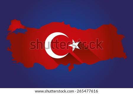 Map of Turkey and national flag symbols, Blue Background - stock vector