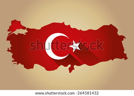 Map of Turkey and national flag symbols, Gold Background - stock vector