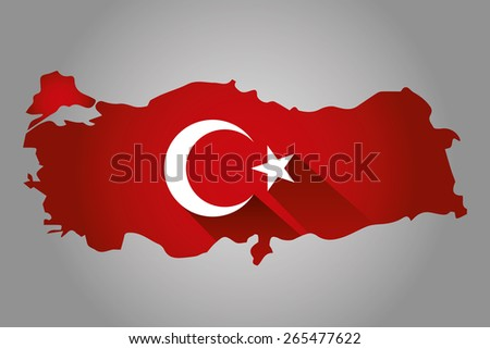 Map of Turkey and national flag symbols, Gray Background - stock vector