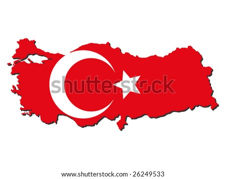 map of Turkey and Turkish flag illustration