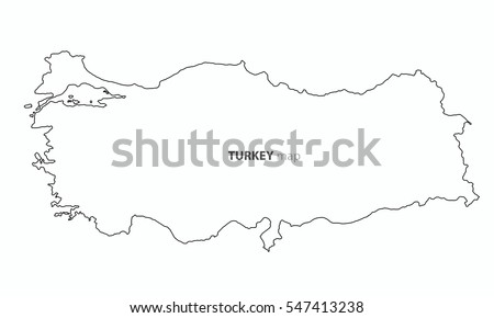 Map Turkey Country Outline Vector Background Stock Vector (Royalty ...