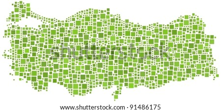 Map of Turkey (Europe). A number of 1322 squares are inserted into the mosaic - stock vector