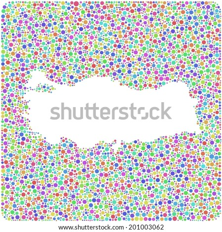 Map of Turkey (Europe) in a mosaic of harlequin bubbles - stock vector