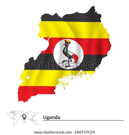 Map of Uganda with flag - vector illustration - stock vector