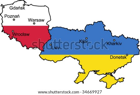 Map of Ukraine and Poland -  the host countries of UEFA Euro 2012 - stock vector