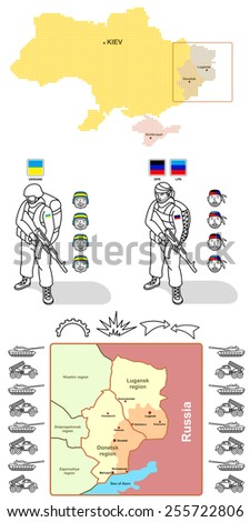 Map of Ukraine and the Donetsk regions. Elements graphic - silhouettes of tanks and missile systems, figures and  icons of soldiers, fighting, fortifications and direction of attack. - stock vector