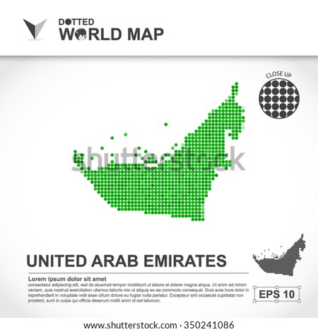 Map Of United Arab Emirates Dotted Vector - stock vector