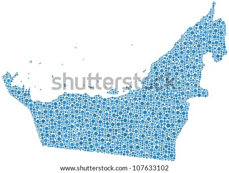 Map of United Arab Emirates in a mosaic of blue circles. A number of 3187 bubbles are accurately inserted into the mosaic. White background - stock vector