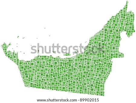 Map of United Arab Emirates (UAE). A number of 2266 squares are inserted into the mosaic - stock vector