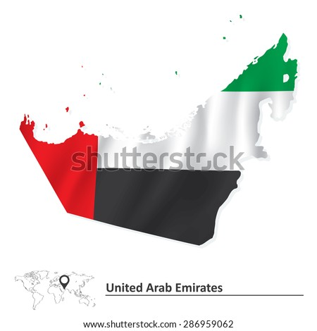 Map of United Arab Emirates with flag - vector illustration - stock vector