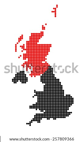 Map of United Kingdom (UK, United Kingdom of Great Britain and Northern Ireland) with stylized map of Scotland made from dots