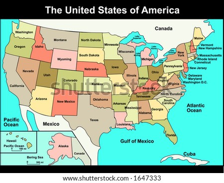 Map of United States - stock vector