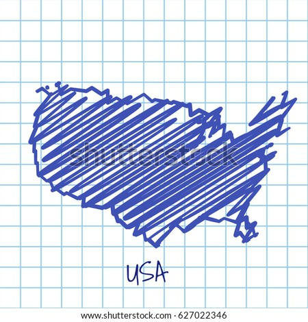 Draw Sketch North American Map Stock Vector Shutterstock - Sketch drawing us with states map