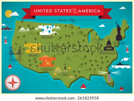 Map Of United States Of America Vector Ilration