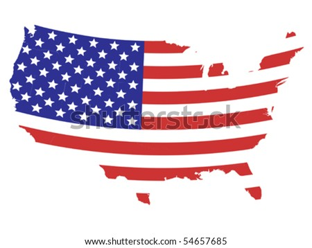Map of United States of America with American flag design - stock vector