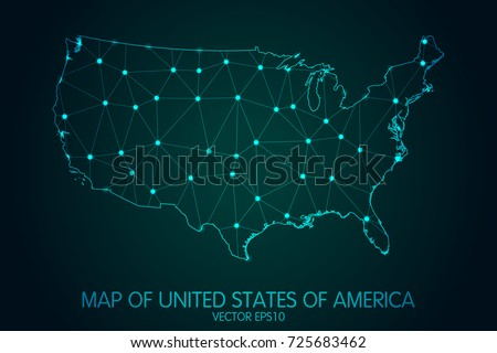Map of United States of America - With glowing point and lines scales on the dark gradient background, 3D mesh polygonal network connections.Vector illustration eps10.