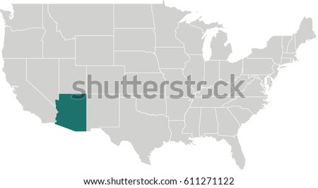 Arizona Map Stock Images RoyaltyFree Images Vectors Shutterstock - Us Map With Arizona Highlighted