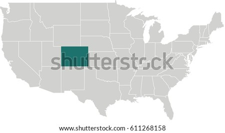 Map United States Colorado Highlighted Stock Vector 611268158