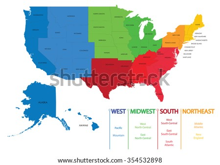 Map Us Regions Maps Usa Stock Vector Shutterstock - Us map midwest region