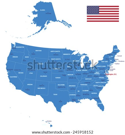 Map of USA - Flag, states and cities. - stock vector