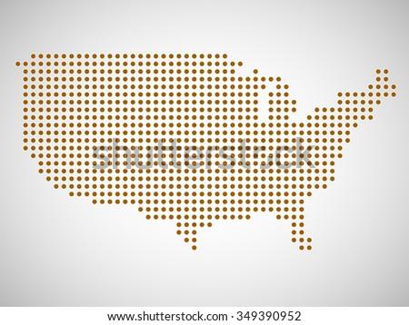 Abstract Map Usa Round Dots Vector Stock Vector - Usa map eps