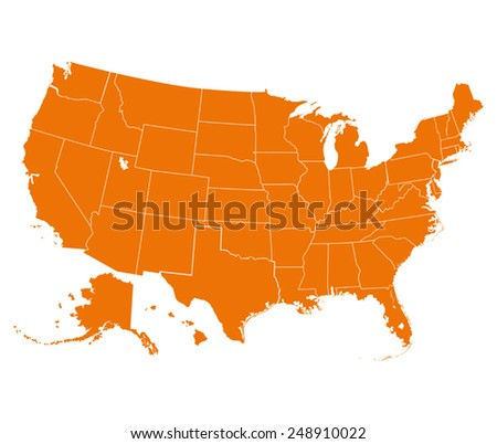 Map of USA in orange color. Vector illustration.  - stock vector
