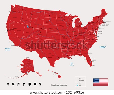 Map of USA in red color. Vector illustration. - stock vector