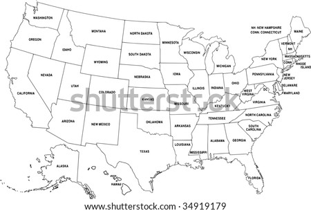 Map of USA - vector - stock vector