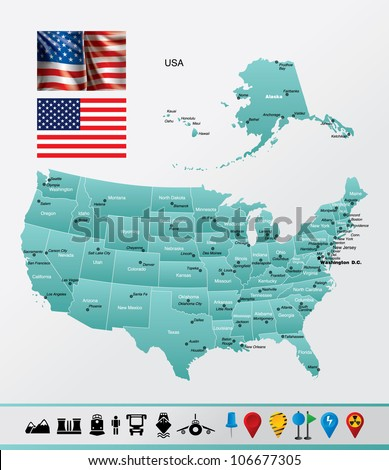 Map of USA - vector illustration Image contains next layers: - land contours - country and land names - city names - water object names - flag - navigation icons
