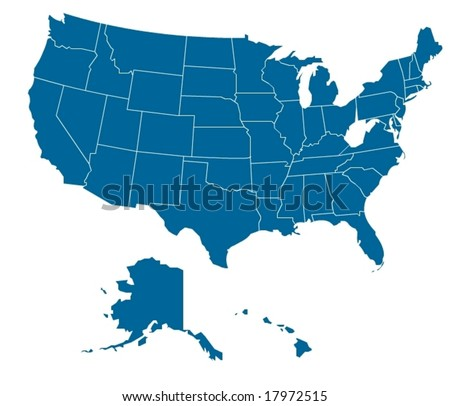 Map Of Usa With Separable Borders In Vector Art