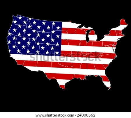 Map of USA with separable borders in vector art on an USA Flag