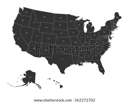 Map of USA with state abbreviations - stock vector